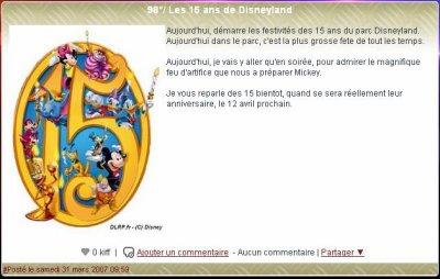 3328°/ 5ème anniversaire : Les 15 ans de Disneyland Paris