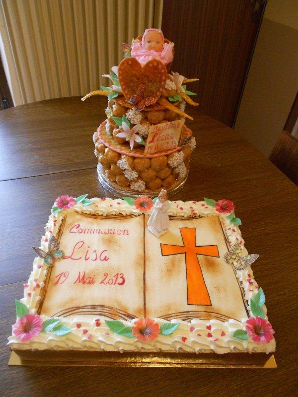 Commande pour une communion et un baptême, pièce montée et entremet.