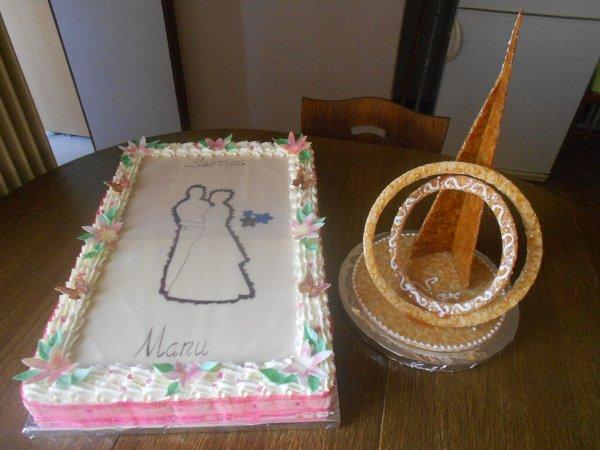 Commande pour un mariage, entremet double parfum et support en nougatine.