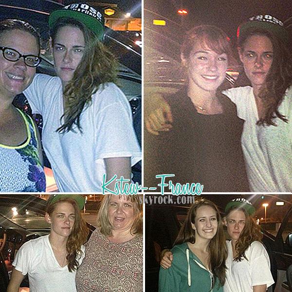 . 09.08.13 Kristen pose avec quelque fan en sortant du tournage de Camp X-Ray.
