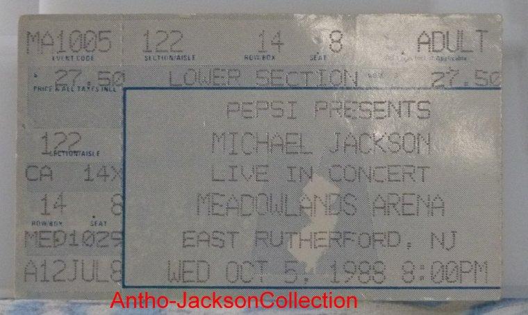 Billets de concerts de Michael Jackson