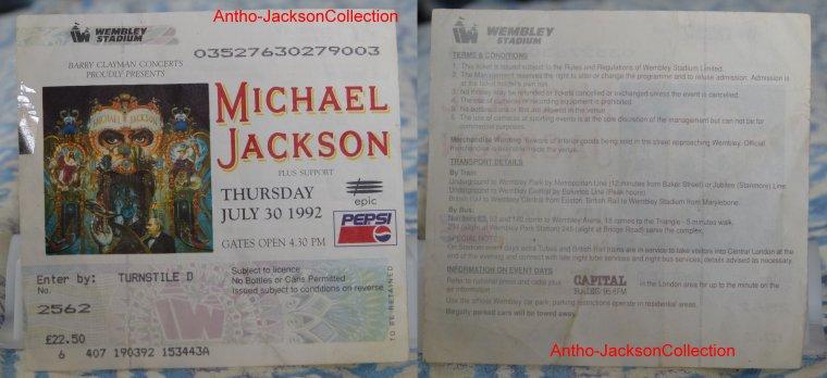 """Billets de concerts de Michael Jackson """"2"""""""