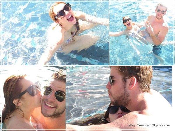 Miley et Liam se sont amuser à prendre des photos dans une piscine.