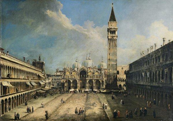 La place Saint-Marc et la Basilique au temps de Vivaldi Tableau de Canaletto (1697-1768) Collection Thyssen-Bornemisza, Madrid