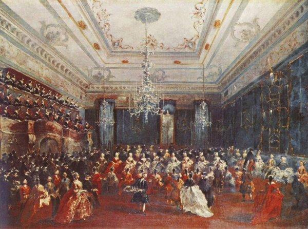 Concert donné dans la salle des Filarmonici par les pensionnaires (en tribune, à gauche) d'un Ospedale vénitien Tableau de Francesco Guardi (1712-1793) Alte Pinakothek, Munich.