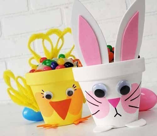 Bricolages de Pâques express: le poussin et le lapin