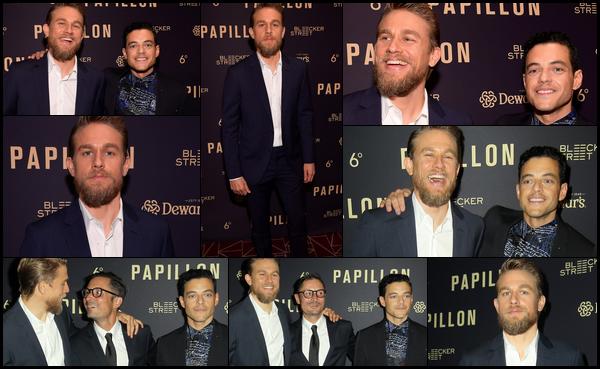 19.08.2018 : Après deux mois sans nouvelles Charlie était à la première du film  « Papillon »  à West Hollywood