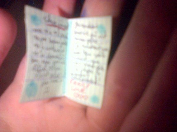 Cathie écrit dans un journal intime.