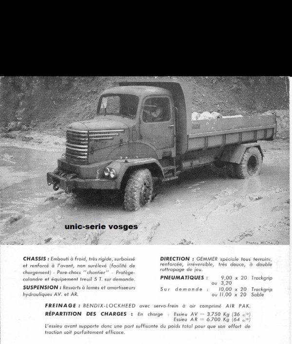 CAMION UNIC SERIE VOSGES   ZU 47   4X4 DE 1958