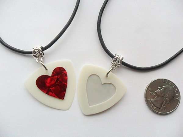 White and red heart guitar pick necklace set
