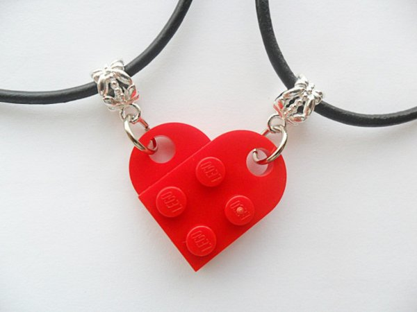Red heart his and hers necklace set