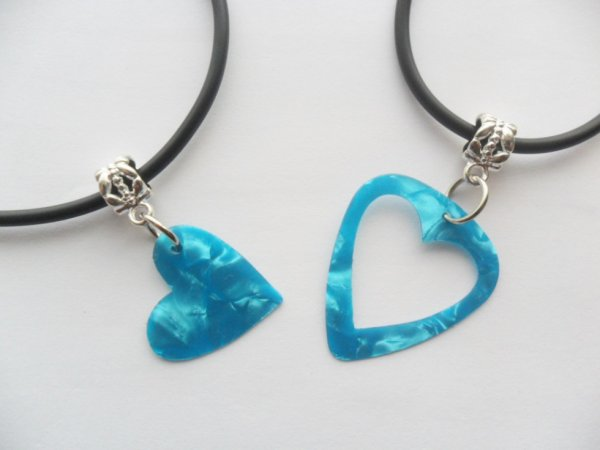 Turquoise Guitar pick necklace his and her's heart set