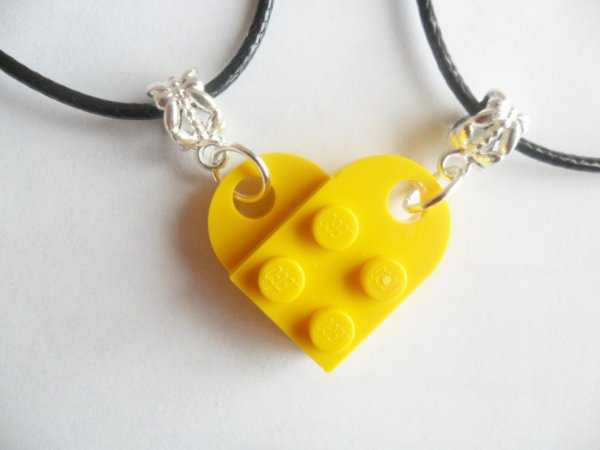 Yellow Lego heart necklace set