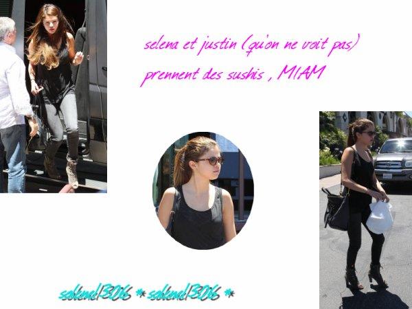 le 7/07/2012 Selena et justin allant chercher des sushis