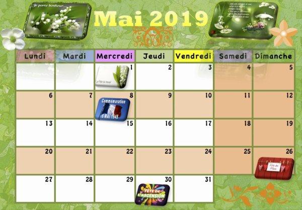 Calendrier Mai 2019