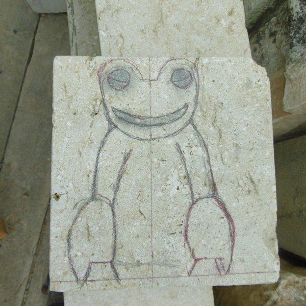 grenouille en pierre de bourgongne