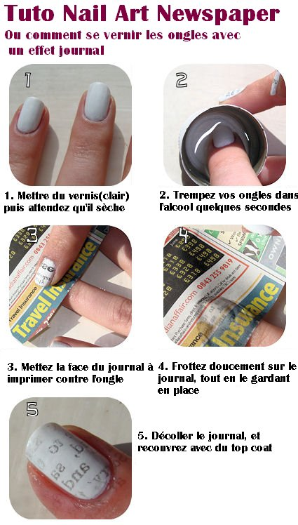 "[Vernis & Nail Art] Tuto ""Newspaper"""