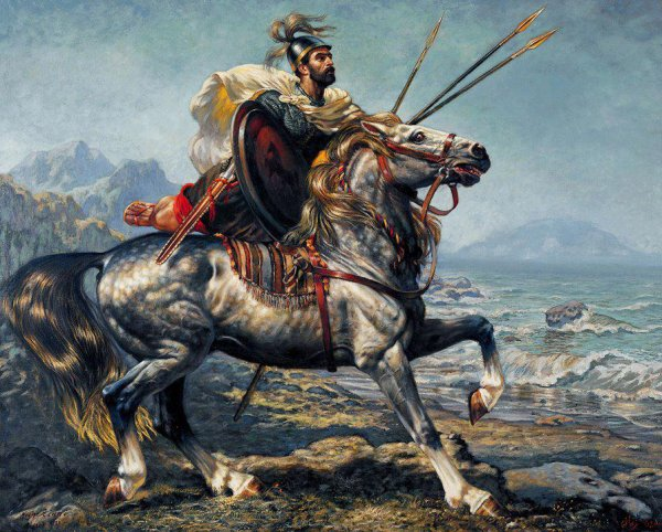 """The Numidian Knight"", painting by Algerian Alamzigh artist Houcine Ziani"
