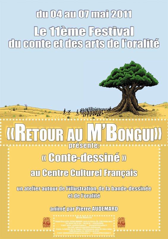 Ateliers dessin au CCF dans le cadre du festival Retour au M'Bongui. Ces ateliers sont animés par Audemard Pierre, illustrateur et bédéiste français