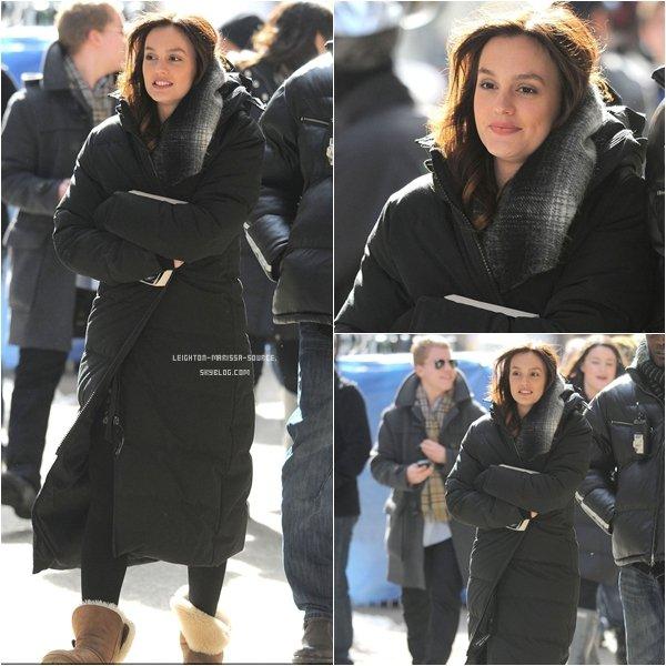 Le 4 février 2011 : Leighton était sur le tournage de gossip girl dans le froid glaciale de new york !