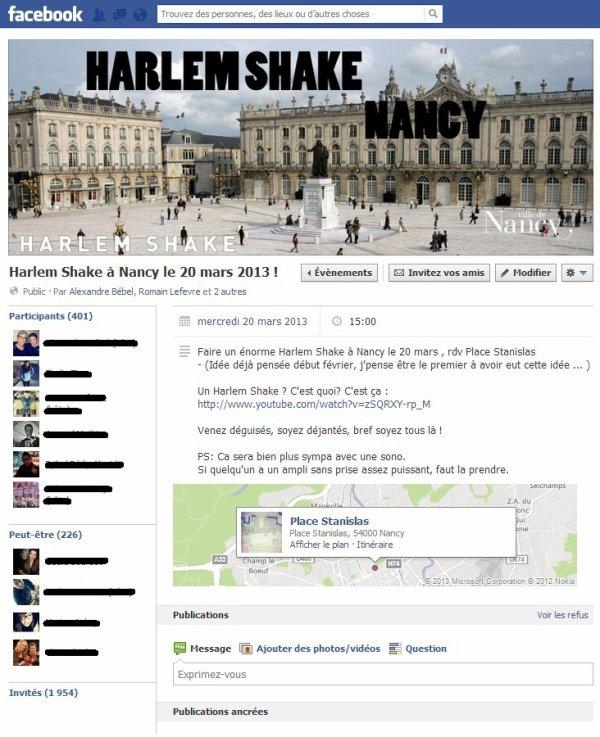 Evènement Harlem Shake Nancy sur Facebook !
