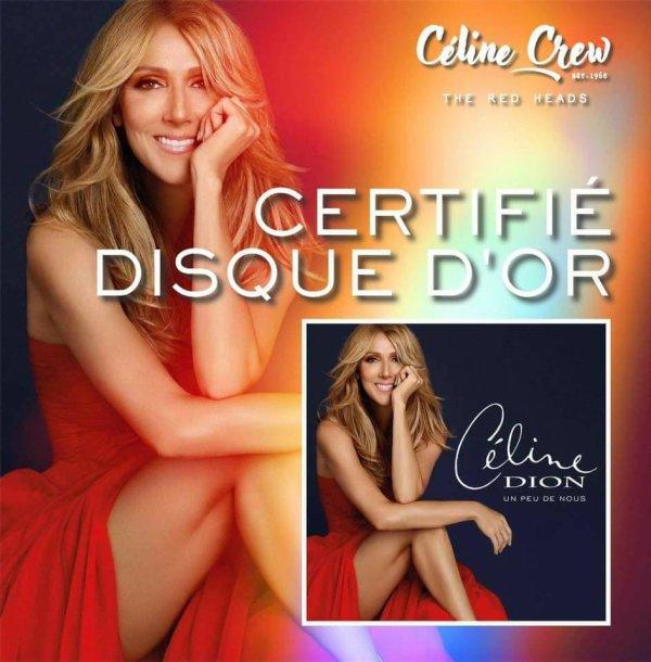 """Céline Dion : """"Un peu de nous"""" vient d'être certifié disque d'or..."""
