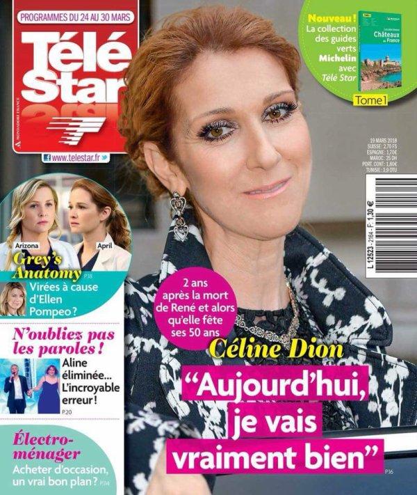 """Céline Dion en couverture du magazine français """"Télé Star""""..."""