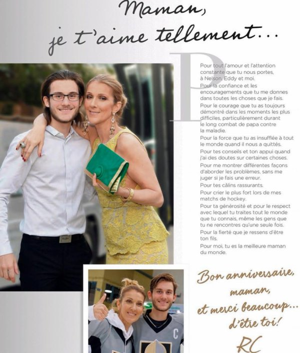 Céline Dion : La tendre déclaration d'amour de son fils René-Charles pour ses 50 ans...