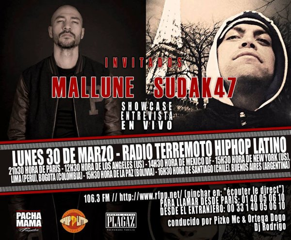 LUNDI 30 MARS 2015  en direct de l'émission Terremoto Hip-Hop Latino sur Radio FPP 106.3