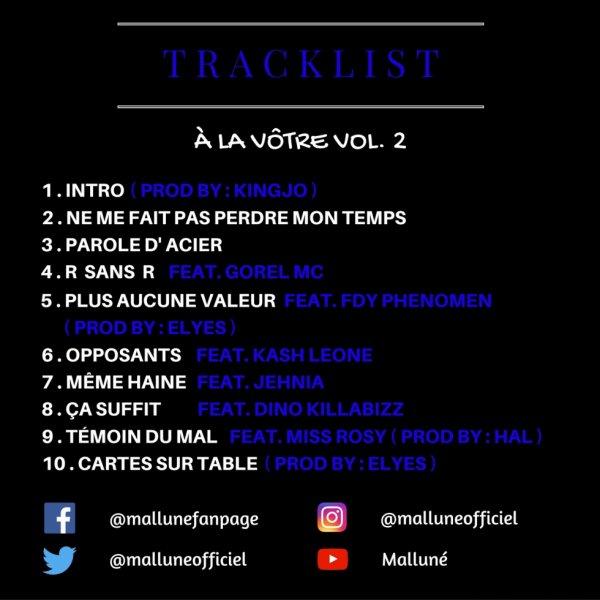 """Tracklist de ma Nouvelle MIxtape """" À La Vôtre Vol. 2 """""""