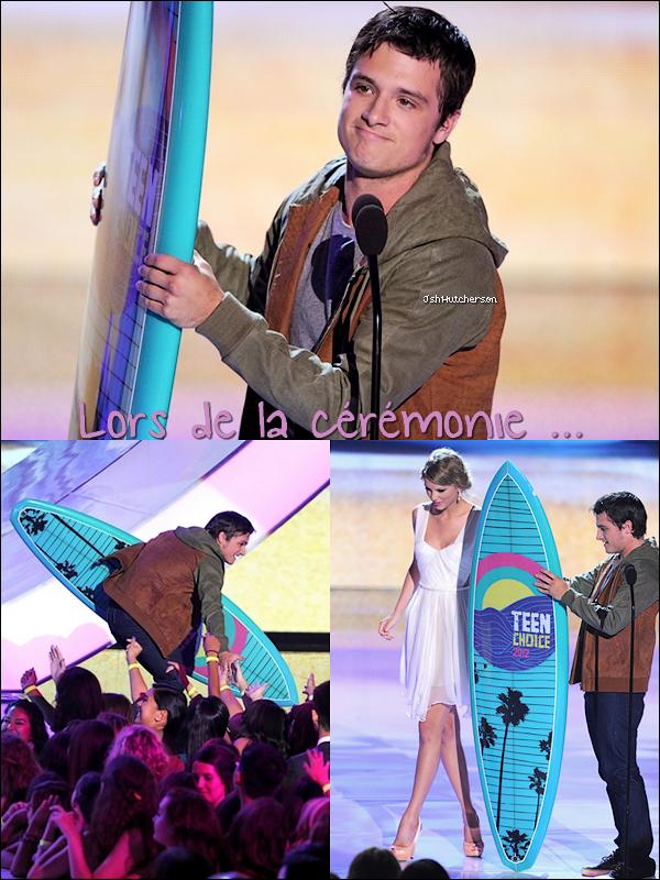 """. Comme nous l'attendions depuis un moment, les Teen Choice Awards 2012 ont eu lieu dans la nuit de dimanche 22 au lundi 23 juillet. Le cast d'Hunger Games a remporté 9 prix dont """"Meilleur film de Science Fiction/Fantastique"""" et """"Meilleur acteur de Science Fiction/Fantastique"""" pour Josh. La vidéo où Josh reçoit son prix est ici.."""