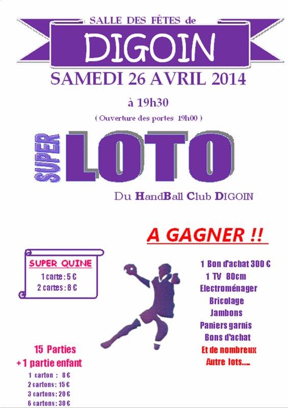 26 AVRIL 2014 : LOTO DU HANDBALL CLUB DIGOIN. On compte sur vous !