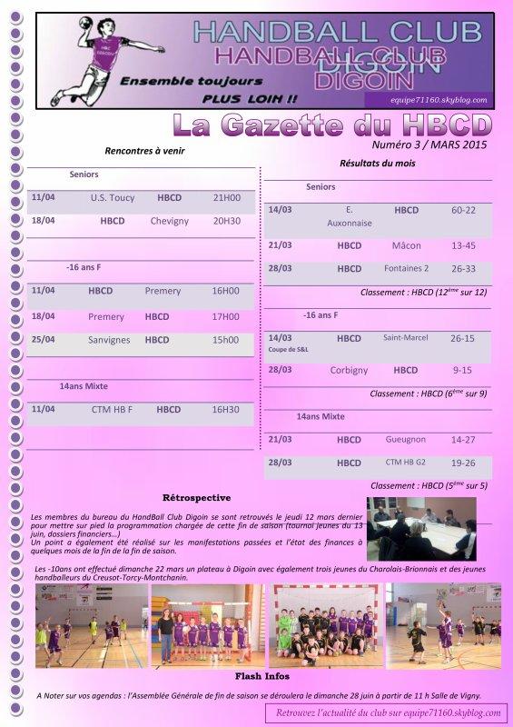 La Gazette du HBCD N°3 - Mars 2015