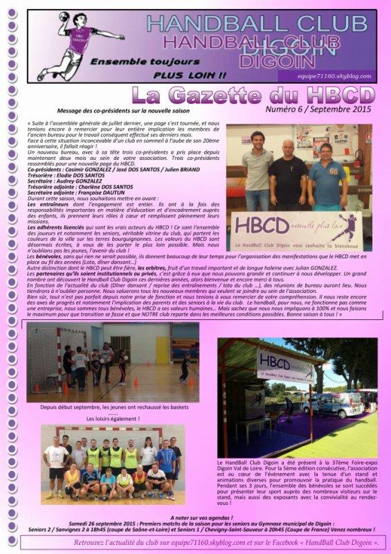 Gazette du HBCD - Numéro 6 (Septembre 2015)
