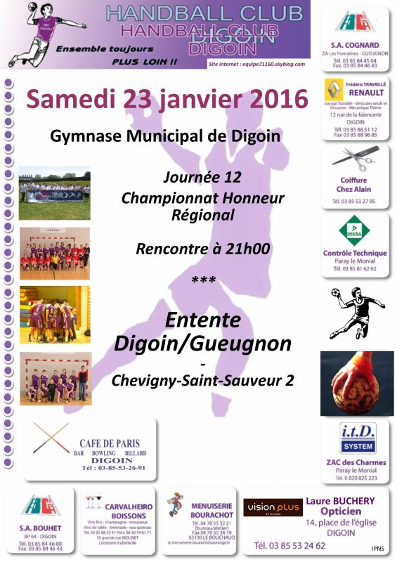 Rencontres du week-end handballistique (23-24/01/16)