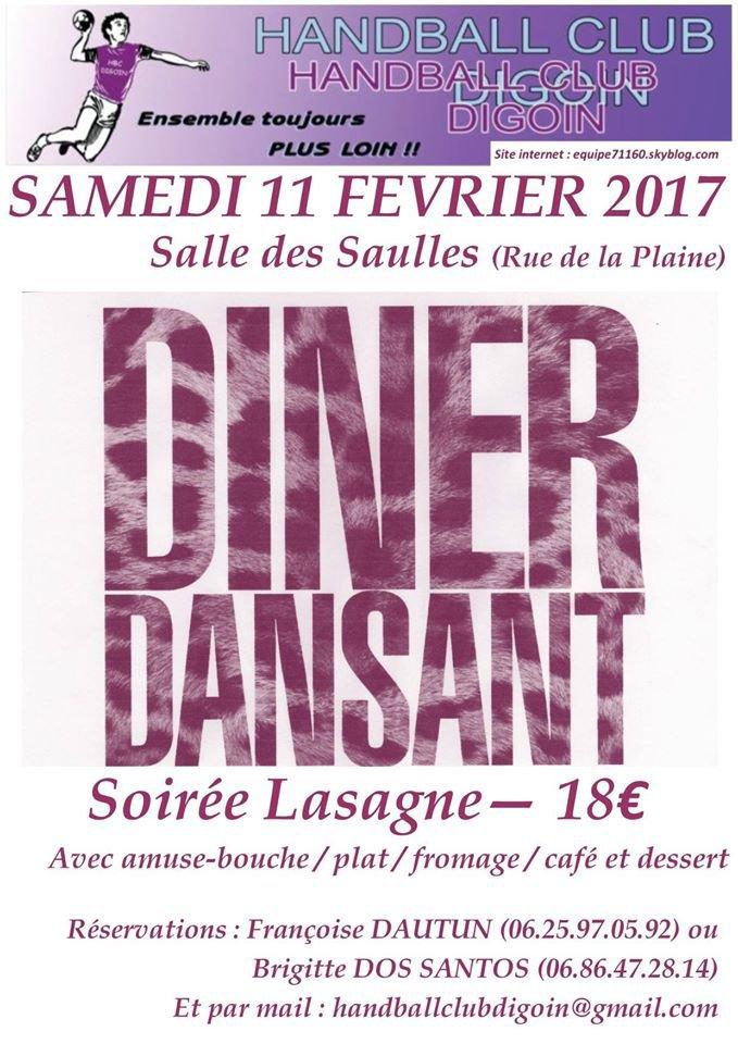 Diner Dansant du HBCD / Samedi 11 Février 2017