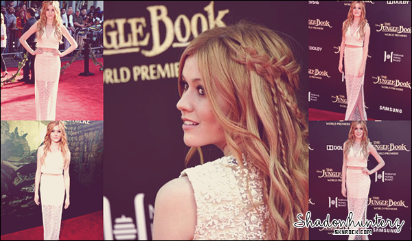 _ PUBLIC APPEARANCES // 4 AVRIL 2016 : Katherine McNamara s'est rendue à l'avant-première mondiale du film The Jungle Book (Le livre de la jungle en français) à Hollywood.
