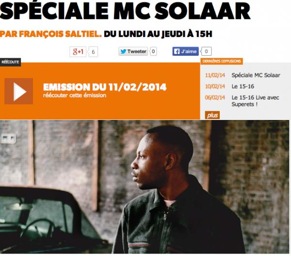 MC Solaar dans une émission spéciale sur Le Mouv'