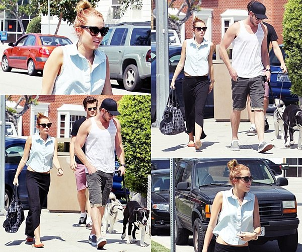 12 Mai 2012 • Miley, Liam, un ami ainsi que son nouveau chien Mary-Jane  se sont promenés dans Los Angeles puis ils sont allés manger dans un restaurant.