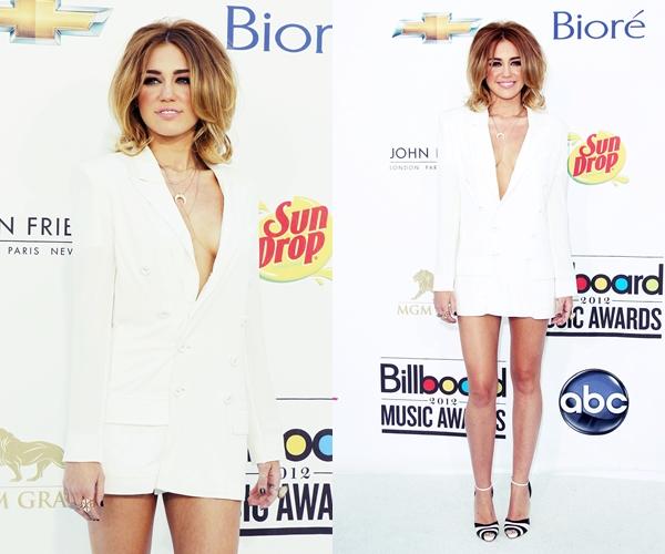 20 Mai 2012 • Miley Cyrus était présente comme prévu aux Billboard Awards 2012  à Las Vegas. Miss Cyrus était vêtue d'un magnifique tailleur blanc de Jean-Paul Gaultier avec des chaussures de Christian Louboutin et des bijoux Jacquie Aiche . Miley est superbe ! Je trouve qu'elle est reste simple tout en ayant la classe.  Je trouve qu'elle fait très femme. Pour moi c'est un beau top ! Et vous ?