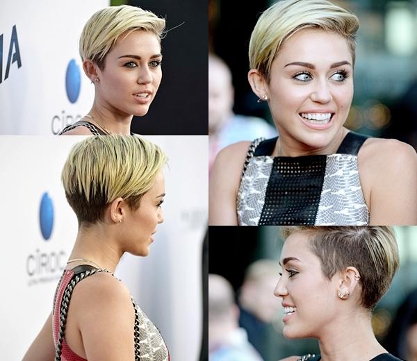 Le 8 Août 2013  Miley a accompagné son  fiancé Liam Hemsworth à la première de Paranoia à Los Angeles. Elle portait une robe de patchwork par Proenza Schouler, des chaussures Céline et un sac Chanel.