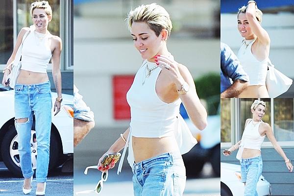 Le 14 juillet 2013  Miley embarquant dans un vol privé direction New York