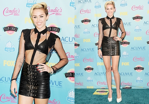 Le 11 Août 2013  Miley était comme prévue aux TCA, cependant elle n'était pas avec Liam comme signalé. Miley portait une tenue Saint Laurent. Elle a gagné 3 prix sur 6 ce qui est vraiment bien ! Les prix gagnés sont les suivants : Le meilleurs style de l'artiste, le meilleur passage dans une série TV avec Two and a Half Men puis enfin la meilleure musique de l'été avec We can't stop !
