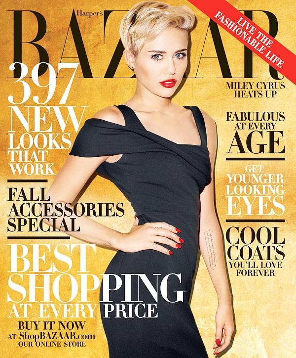 Le 20 Septembre 2013  Miley fait la couverture de Harper's Bazaar d'octobre 2013