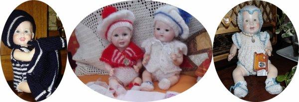 """""""Bambino"""" petit frère de Bleuette de retour.Barboteuse au tricot ensemble au crochet"""
