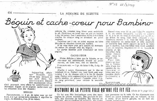 """Layette """"Béguin Cache-Coeur pour Bambino petit Frère de Bleuette"""