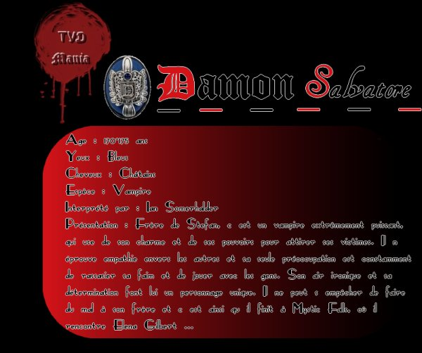 Damon Salvatore  Newsletter   _|   Personnages   _|   Saison 1   _|   Saison 2    _|    Saison 3    _|  Saison 4