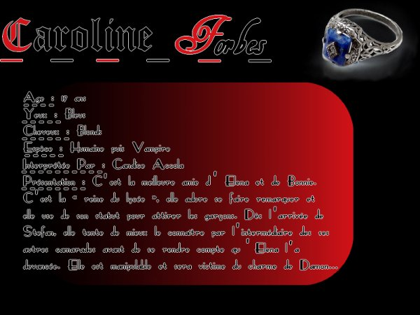 Bonnie Bennett & Caroline Forbes  Newsletter   _|   Personnages   _|   Saison 1   _|   Saison 2    _|    Saison 3    _|  Saison 4