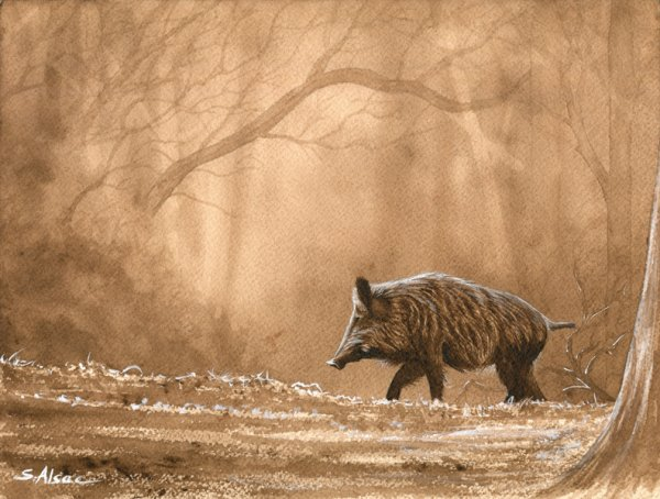 peinture de gros gibiers et de chien de chasse