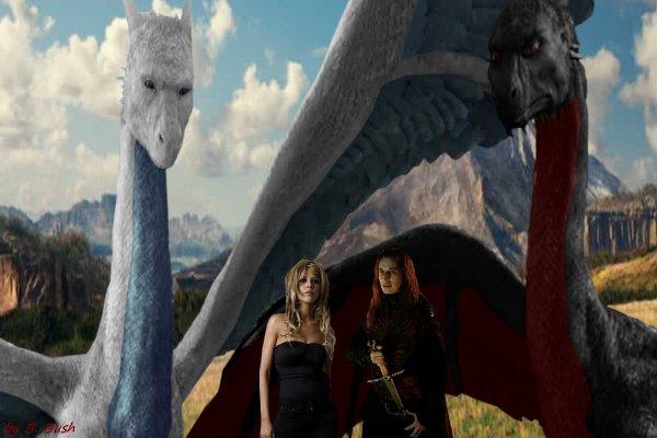 Moi (Barbara) et Durza avec nos dragons (Céleste et Skuliakan)
